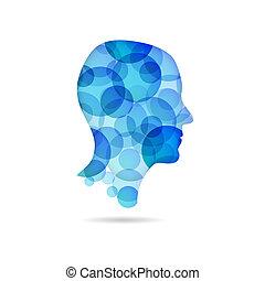 kék, poszter, fej, -, buborék