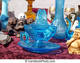 kék, részlet, bolhapiac, pohár