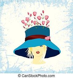 kék, rózsa, nő, kalap