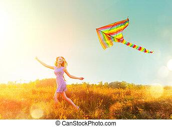 kék, rövid, színes, szépség, felett, repülés, ég, futás, leány, ruha, világos, papírsárkány