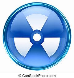 kék, radioaktív, ikon