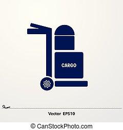 kék, rakomány, poggyász, icon..., targonca