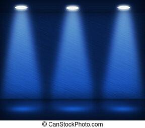 kék, reflektorfény, szoba