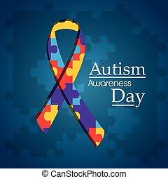 kék, rejtvény, autism, alakít, szalag, háttér, nap, tudatosság
