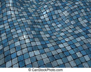 kék, render, emelet, fal, imbolygás, felszín, cserép, mózesi, 3
