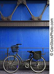 kék, retro, biciklizik