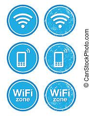 kék, sáv, szüret, wifi, labor, internet