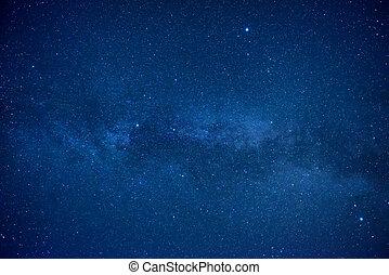 kék, sötét, éjszaka ég, noha, sok, csillaggal díszít