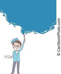 kék, sablon, fal, háttér, festmény, szobafestő