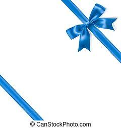 kék, selymes, királyi, íj, háttér., vektor, sarok, white szalag