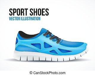 kék, shoes., futás, jelkép., fényes, gumitalpú cipő, sport