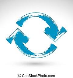 kék, simp, elszigetelt, korszerűsíteni, aláír, háttér, fehér, hand-painted