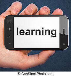kék, smartphone, szó, tanulás, háttér., display., kéz, sötét, telefon, mozgatható, birtok, furfangos, faji
