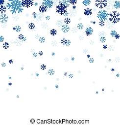 kék, snowflakes., esés