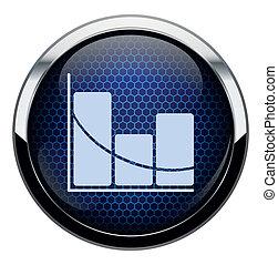 kék, stat, átlyuggatott díszítés, ikon