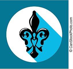 kék, szín, jelkép, ellen-, hosszú, fleur, francia, lis, liliom, shadow., ikon