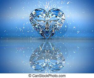 kék, szív, gyémánt, visszaverődés, alakú, felett