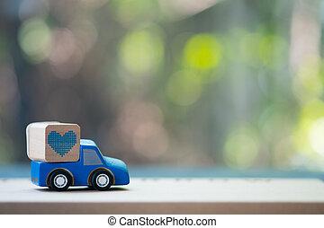 kék, szív, játékszer, átadó, gyorsulás teherkocsi
