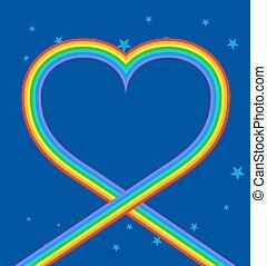 kék, szív, szivárvány, Ég, jelkép, szeret, csillaggal...