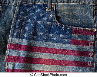 kék, szó, usa, cajgvászon jeans, lobogó, háttér, büszkeség, concept.