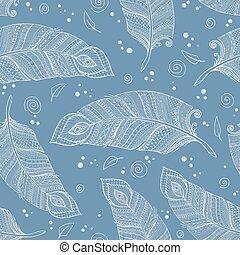kék, szórakozottan firkálgat, feathers., seamless, vektor, retro, háttér, etnikai, floral példa, ázsiai