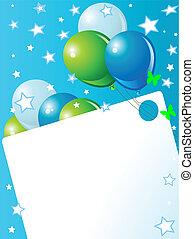 kék, születésnap kártya