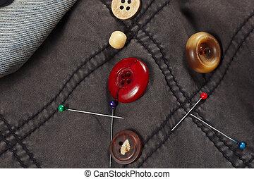 kék, szüret, farmeranyag, gombok, fekete, faszegek, closeup, gyapot