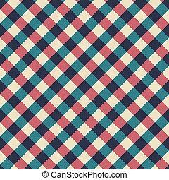 kék, szüret, pattern., seamless, átló, lines., retro, háttér, abrosz, piros