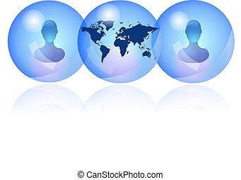 kék, személy, hálózat, társadalmi
