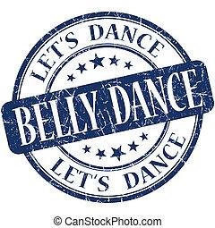 kék, táncol, szüret, elszigetelt, bélyeg, has, grungy, kerek