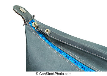 kék, táska, cipzár, csukott