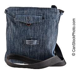 kék, táska, farmeranyag