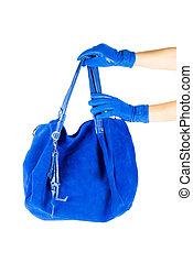 kék, táska, nők, kéz