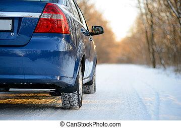 kék, tél, biztos., havas, autó, autózás, gumiabroncsok, road.
