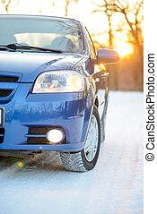 kék, tél, vezetés, havas, autó, utazás, páncélszekrény, gumiabroncsok, fényes, napnyugta, sun., concept., út