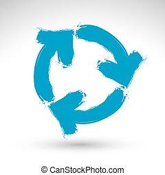 kék, tényleges, ismétel, alkotott, egyszerű, korszerűsíteni, vectorized., elszigetelt, felfrissít, aláír, háttér, fürkészett, tinta, ikon, húzott, ecset, kéz, navigáció, fehér, jelkép., hand-painted