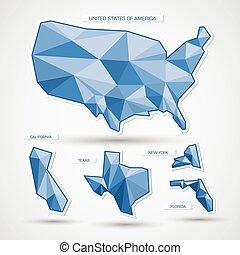 kék, térkép, egyesült államok, geometriai, usa