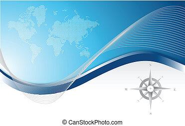kék, térkép, iránytű, háttér, &