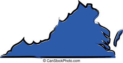 kék, térkép, skicc, stilizált, virginia