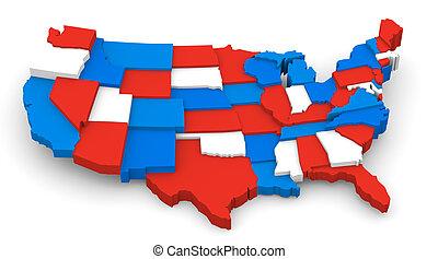 kék, térkép, usa, jel, white piros