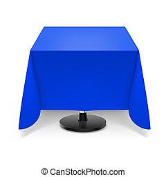 kék, tablecloth., asztal, derékszögben