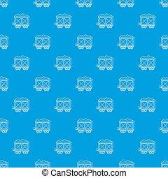 kék, tehervagon, vasút, seamless, motívum
