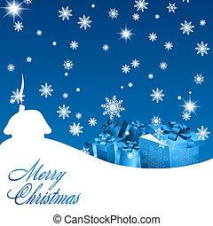 kék, tehetség, elvont, dobozok, háttér, karácsony