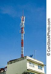 kék, telecom emelkedik, ég, háttér