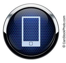 kék, telefon, átlyuggatott díszítés, ikon