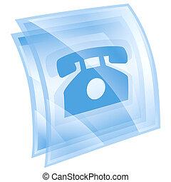 kék, telefon, elszigetelt, háttér., fehér, ikon