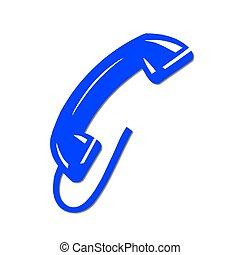 kék, telefon, elszigetelt, telefonkagyló
