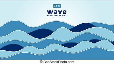kék, tenger, óceán, vektor, háttér, lenget