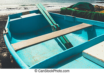 kék, tengerpart, öreg, halászhajó