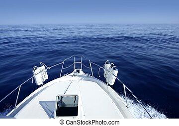kék, tengertől távol eső, csónakázik, tenger, vitorlásport